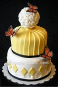 Yellow and Black Butterfly Cake