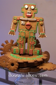 Robot for a Crazy Inventor Party made from gingerbread cookies