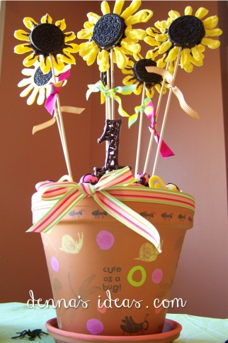 Cute as a Bug Potted Cake and Oreo Sunflowers