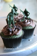 Army men cupcakes with oreo bits.
