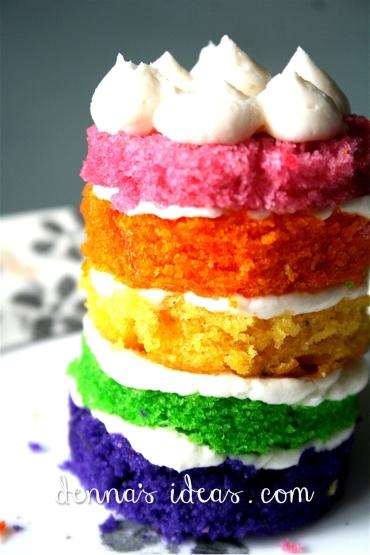 mini Rainbow layer cakes