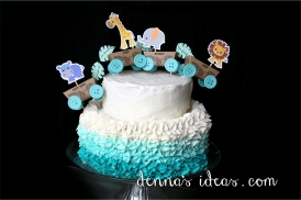 Ombre Baby Jungle Animal Train Cake
