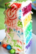 slice of Graffitied Rainbow layer cake