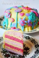 Pink and Yellow layered pound cake