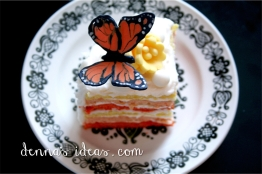 Colorful layers inside a butterfly cake