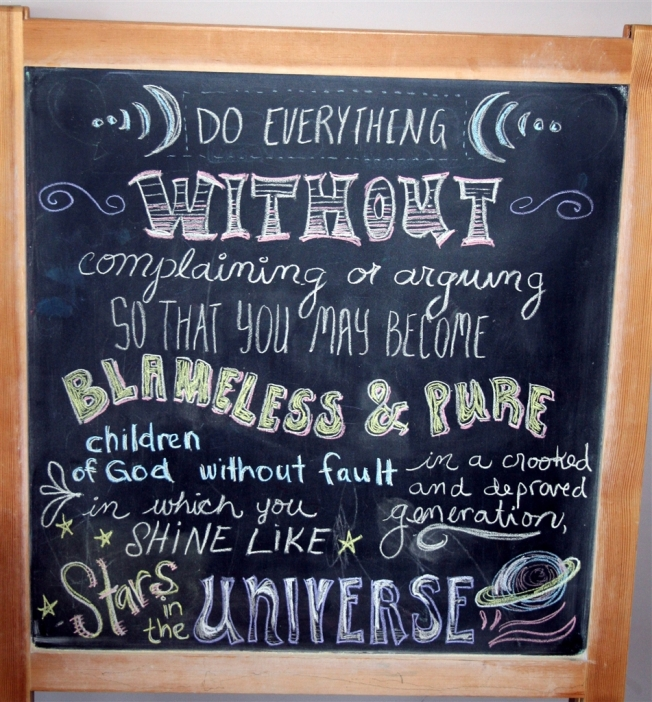 chalkboard with verse about complaining by denna's ideas