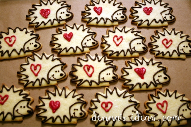 Denna's Ideas-hedgehog cookies for valentine's day