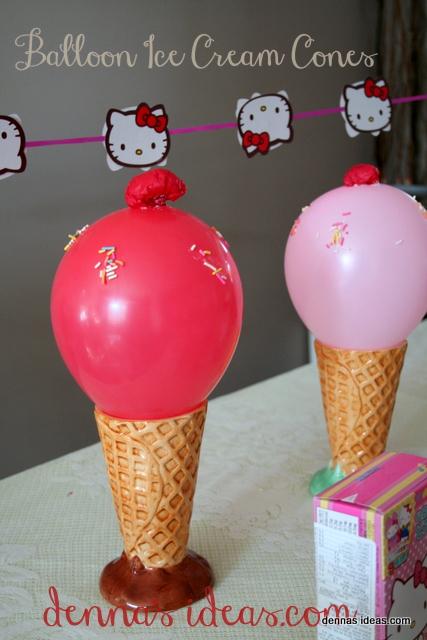 denna's ideas: Hello Kitty Banner and party ice cream balloons