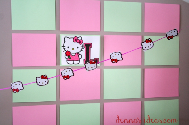 denna's ideas: Hello Kitty Party Ideas, easy Hello Kitty party backdrop