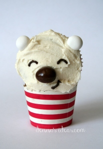 denna's ideas: chocolate covered almonds as cupcake toppers, polar bear cupcake