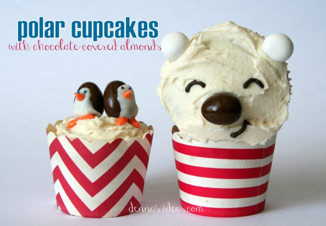 denna's ideas: chocolate covered almonds as cupcake toppers, polar friends cupcakes