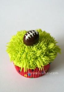 denna's ideas: chocolate covered almonds as cupcake toppers, football