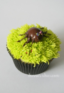 denna's ideas: chocolate covered almonds as cupcake toppers, creepy spider cupcake topper
