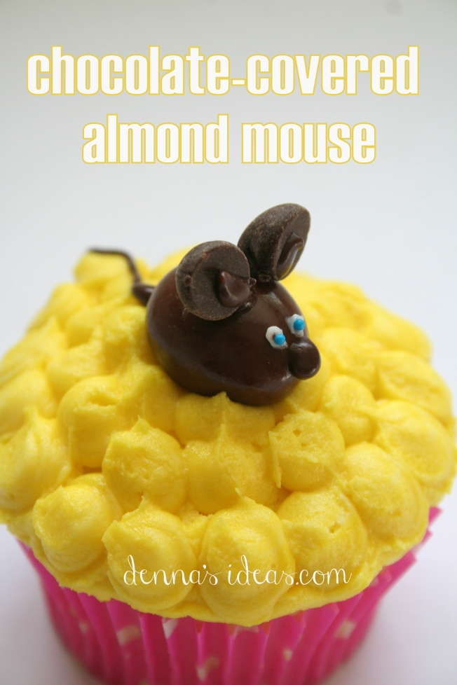denna's ideas: chocolate covered almonds as cupcake toppers, chocolate mouse cupcake topper