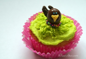 denna's ideas: chocolate covered almonds as cupcake toppers, bird in a nest topper