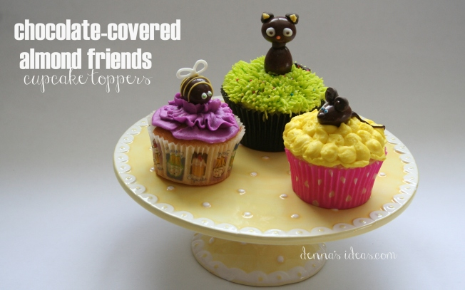 denna's ideas: chocolate covered almonds as cupcake toppers