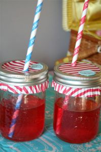 mason jar drinks for kids at a Lalaloopsy or Sewing Party by denna's ideas.com