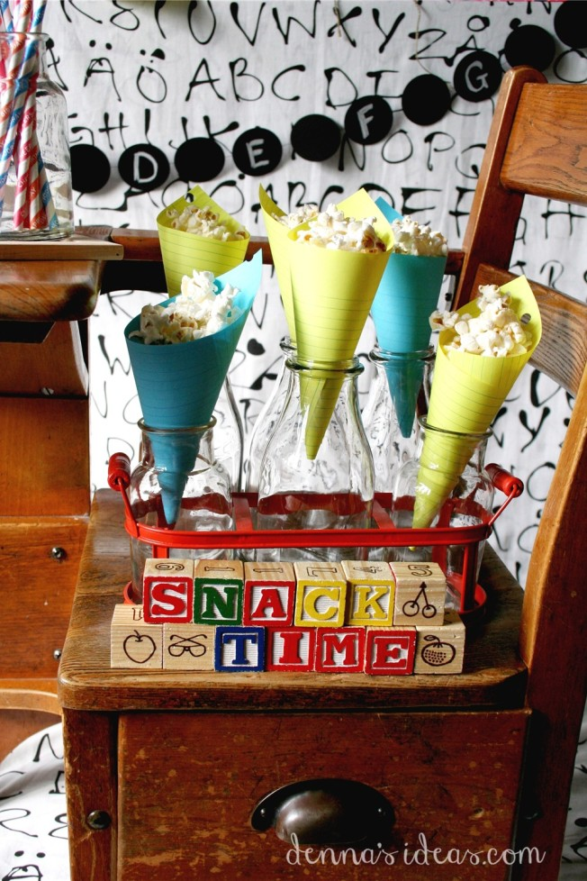 denna's ideas: back to school party , popcorn cones