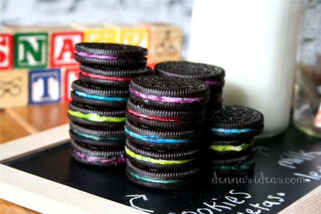 denna's ideas: back to school party , rainbow oreos