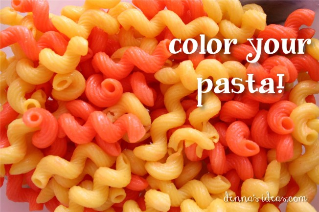 denna's ideas: pasta salad, party food for a Lalaloopsy party. How to color pasta!