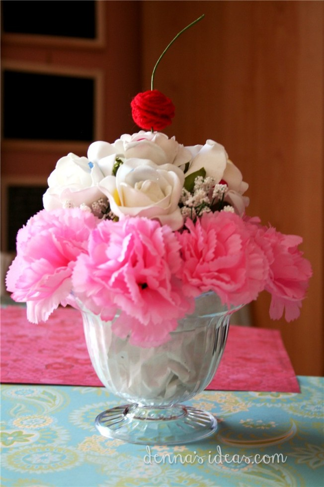 denna's ideas: how to make a budget friendly ice cream Sundae flower arrangement