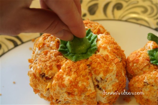 "Pumpkin shaped cheese-ball appetizer ""It's the Great Pumpkin Charlie Brown!"" party ideas by denna's ideas.  Fast and easy ideas for a fall pumpkin themed birthday party."