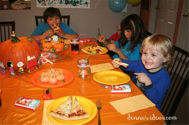 """It's the Great Pumpkin Charlie Brown!"" party ideas by denna's ideas.  Fast and easy ideas for a fall pumpkin themed birthday party."