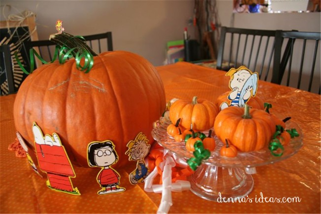 """It's the Great Pumpkin Charlie Brown"" party ideas by denna's ideas.  Fast and easy ideas for a fall pumpkin birthday party."