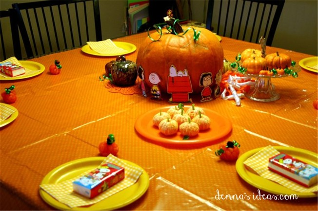 """It's the Great Pumpkin Charlie Brown"" party ideas by denna's ideas.  Fast and easy ideas for a fall birthday party."