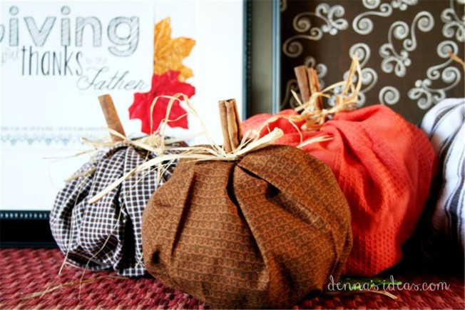fast and easy DIY fabric pumpkins by dennasideas.com, Fall Decor ideas by denna's ideas