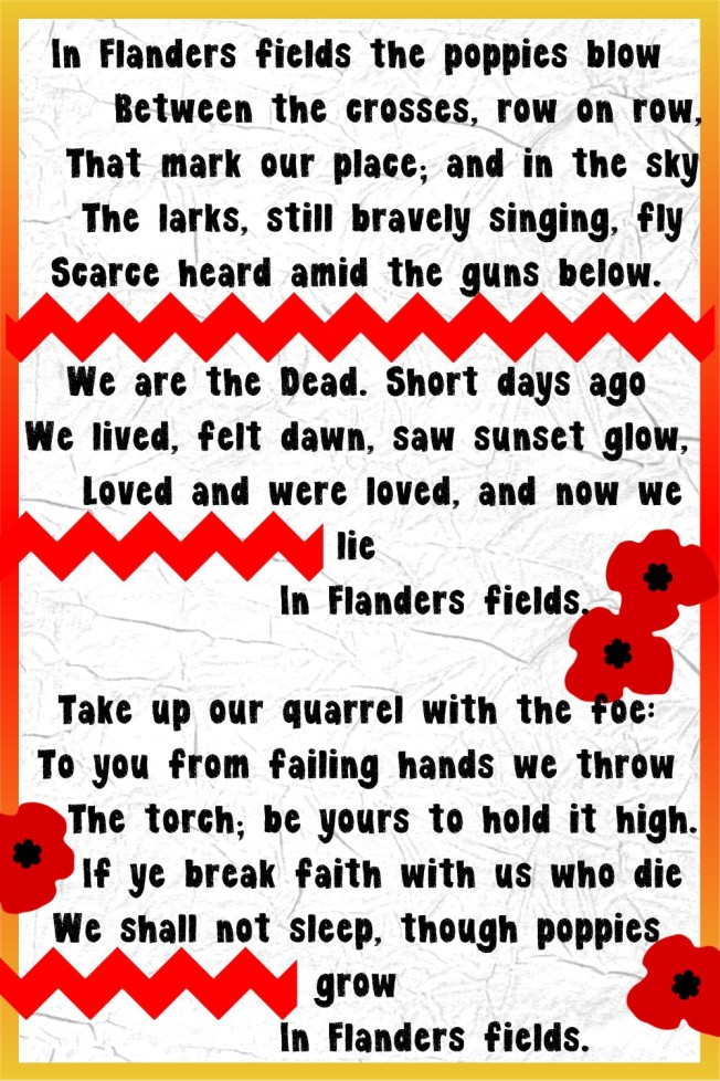 In Flanders Fields poem, posted by dennasideas.com