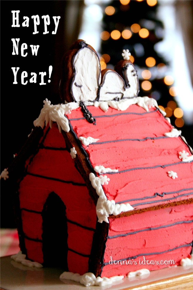 Gingerbread Snoopy's Doghouse_dennasideas.com - Happy New Year 2014