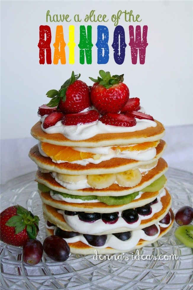 healthy fruit rainbow pancakes for St. Patrick's Day by dennasideas.com
