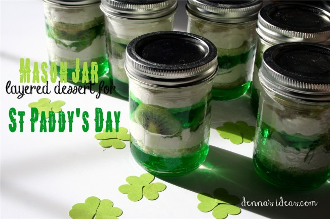 St Paddy's Day green mason jar desserts with kiwi and lime jello and pound cake by dennasideas.com