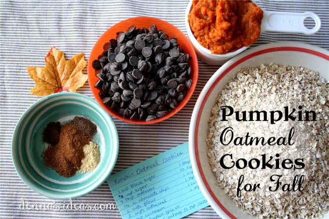 Pumpkin Oatmeal Cookies with Chocolate Chips, great cookies for fall by dennasideas.com