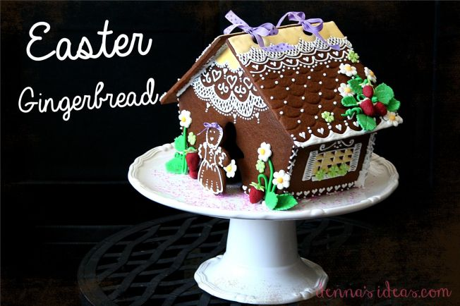 Easter Gingerbread House by dennasideas.com